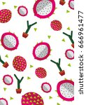 dragon fruit pattern design  | Shutterstock .eps vector #666961477