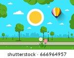 empty park. vector nature scene.... | Shutterstock .eps vector #666964957