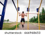 man  strong male  athlete... | Shutterstock . vector #666968653