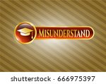 gold emblem or badge with... | Shutterstock .eps vector #666975397