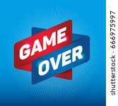 game over arrow tag sign.  | Shutterstock .eps vector #666975997
