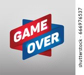 game over arrow tag sign.  | Shutterstock .eps vector #666976537