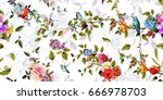 Stock vector bright wide vintage seamless background pattern rose peony poppy with humming birds around 666978703