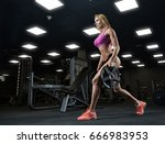 fitness girl exercising with... | Shutterstock . vector #666983953