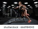 fitness girl exercising with...   Shutterstock . vector #666984043