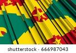 fragment flag of grenada. 3d... | Shutterstock . vector #666987043