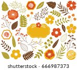 vector autumn floral set with... | Shutterstock .eps vector #666987373