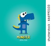 vector cartoon funny blue... | Shutterstock .eps vector #666990103