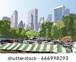 central park. new york. usa.... | Shutterstock .eps vector #666998293