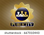 gold shiny badge with business ... | Shutterstock .eps vector #667010443