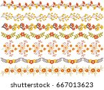 vector floral borders set... | Shutterstock .eps vector #667013623