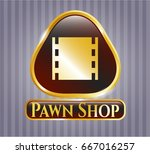 gold badge or emblem with film ... | Shutterstock .eps vector #667016257