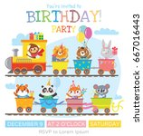 greeting card with cute animal... | Shutterstock .eps vector #667016443