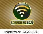 gold badge or emblem with wifi ... | Shutterstock .eps vector #667018057