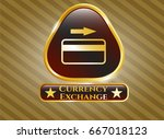 gold badge or emblem with... | Shutterstock .eps vector #667018123