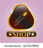 gold shiny emblem with cutter... | Shutterstock .eps vector #667019803