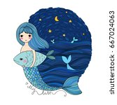 beautiful little mermaid and... | Shutterstock .eps vector #667024063