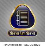 gold emblem or badge with note ... | Shutterstock .eps vector #667025023