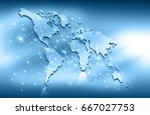 world map on a technological... | Shutterstock . vector #667027753