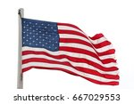 weathered american flag on a... | Shutterstock . vector #667029553