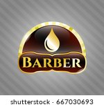 golden badge with drop icon... | Shutterstock .eps vector #667030693