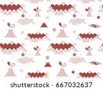 decorative seamless tribal ... | Shutterstock .eps vector #667032637