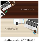 top view laptop computer vector ... | Shutterstock .eps vector #667032697