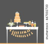 wedding candy bar with cake.... | Shutterstock .eps vector #667032733