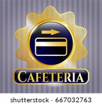 golden badge with credit card... | Shutterstock .eps vector #667032763