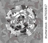 worthy on grey camouflage... | Shutterstock .eps vector #667032817