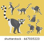 Set Of Lemurs In Modern Flat...