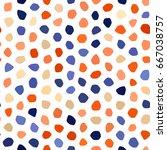 blue  orange  beige polka dot... | Shutterstock .eps vector #667038757