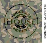 house on camouflaged pattern | Shutterstock .eps vector #667040143
