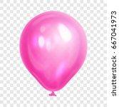 realistic pink balloon ... | Shutterstock .eps vector #667041973