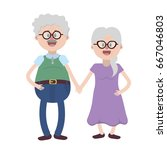 old couple with hairstyle and... | Shutterstock .eps vector #667046803