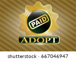 shiny badge with paid icon and ... | Shutterstock .eps vector #667046947