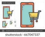mobile shopping vector line... | Shutterstock .eps vector #667047337