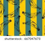 banana seamless pattern. vector ... | Shutterstock .eps vector #667047673