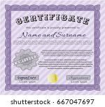 violet diploma template or... | Shutterstock .eps vector #667047697
