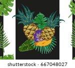 hand drawn striped pineapple... | Shutterstock .eps vector #667048027