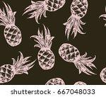 pineapple seamless pattern.... | Shutterstock .eps vector #667048033