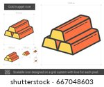 gold nugget vector line icon... | Shutterstock .eps vector #667048603