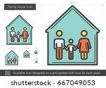 family house vector line icon... | Shutterstock .eps vector #667049053