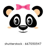 cute panda with pink bow.... | Shutterstock .eps vector #667050547