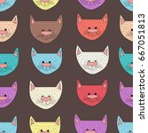 seamless pattern of cute... | Shutterstock .eps vector #667051813
