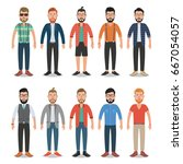 set of hipster men. hipster... | Shutterstock .eps vector #667054057