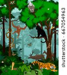 vector indian jungle rainforest ... | Shutterstock .eps vector #667054963
