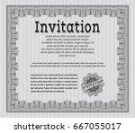 grey retro invitation template. ... | Shutterstock .eps vector #667055017