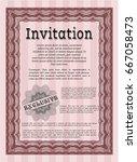 red formal invitation. vector... | Shutterstock .eps vector #667058473