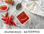 composition with tasty chili... | Shutterstock . vector #667059943
